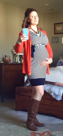 Motherhood Maternity navy blue striped dress, Old Navy orange boyfriend cardigan, Charming Charlie necklace and bracelets, Knee high tan boots