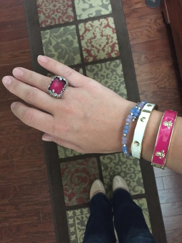 Silpada fuchsia and silver ring, Alex and Ani light blue beaded bracelet, Charming Charlie white and gold bracelet, consignment chop fuchsia bracelet, Zigi Soho nude pumps from DSW